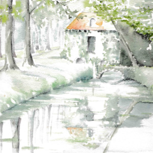 Water color painting in the Loire Valley